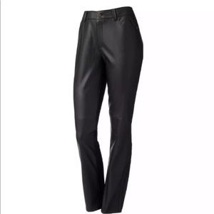 "Dana Buchman Black Faux Leather 9.75""Hi-Rise Pants"